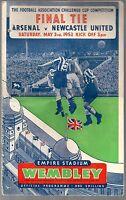 Football Programme Cover Reprints Arsenal v Newcastle U F.A.Cup Final 1952