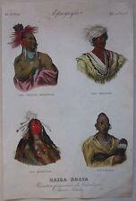 1845 CARATTERI FISIONOMICI COLOMBIA acquaforte Marmocchi Indigenous peoples