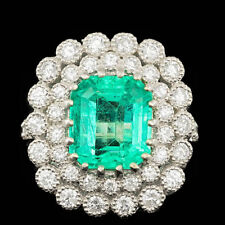 Certified  5.10cttw Emerald 1.65cttw Diamond 14KT White Gold Ring