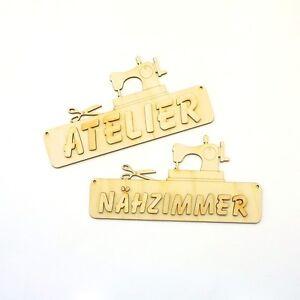 Namensschild, Nähzimmer, Wunschname, Buchstaben, 18cm Holz Nähmaschine, Schere