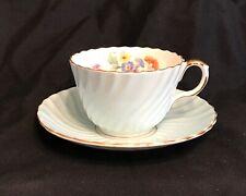 Vintage AYNSLEY TEA CUP SAUCER SET blue green SWIRL floral teacup c 6041