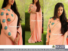 Indian Wedding Traditional Sari Designer Partywear Peach Saree Ethnic Georgette