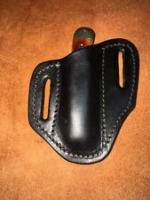 TEXAS MADE LEATHER TRAPPER / STOCKMAN  PANCAKE KNIFE SHEATH Black