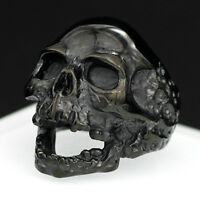 Large Stainless Steel Men's Skull Ring Gothic Heavy Black Grim Reaper Death Band