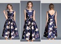 Women vintage floral print sleeveless summer dress Party evening cocktail dress