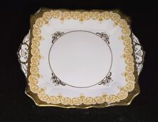 A Beautiful Tuscan Pink And Gold Scroll Cake Plate