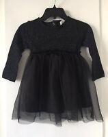 NWD ZARA Baby Girl Black SPARKLY TULLE DRESS Velvet Ribbon Bow Size 2/3 Y O3099