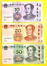 CHINA 10, 20, 50 YUAN Chairman Mao 2019 Issue Banknotes Set (UNC)