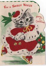 Kitty Cat Lady Girl Ice Skates Muff Flocked Dress VTG Greeting Card Christmas
