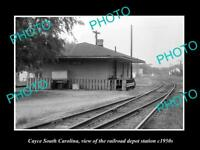 OLD HISTORIC PHOTO OF CAYCE SOUTH CAROLINA, RAILROAD DEPOT STATION c1950s
