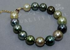 "7.5-8"" 11-12 mm natural south sea black multicolor pearl bracelet"