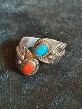 Sterling Silver Turquoise And Coral Navajo Ring Size M.5