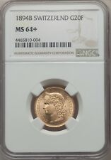 SWITZERLAND REPUBLIC  1894  20 FRANCS GOLD COIN UNCIRCULATED CERTIFIED NGC MS64+