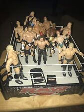 WWE RAW 2010 Mattel Wrestling Ring with 13 Figures Used AS IS