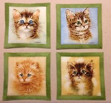 "Mug Rug Coasters Kittens ADORABLE! 4"" By 4"" Handmade Quilted Set Of 4 Fabric"