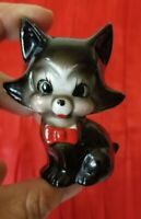 "CUTE VINTAGE CERAMIC BLACK KITTY CAT FIGURINE 3"" TALL RED BOW TIE JAPAN"