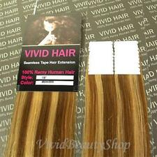 "20pcs 18"" Remy Seamless Tape Skin Weft Human Hair Extensions Light Brown Blonde"