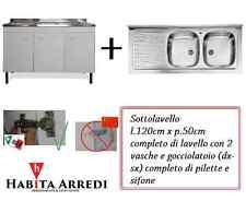 Mobile con Lavello per Cucina Bianco Tre Ante + Gocciolatoio DX SX Acciaio Inox