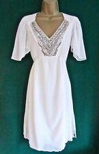 GHOST UK10 Ivory SILK Chiffon Flutter Sleeve Beaded V-Neck Shift Bridal DRESS