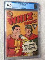 Whiz Comics #35  CGC 6.5 Fawcett Oct 1942  off-white/white pages FREE bonus copy