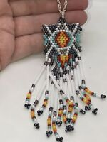 Native American Cherokee Beaded Tribal Pendant Charm D-1060