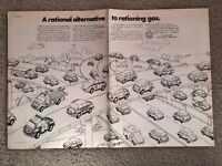 1973 VW Beetle Nation 2-Page Print Ad ~ Rational Alternative to Rationing Gas