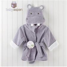 Cute Hippo Baby Boy Dressing Gown Splash Wrap Bath Hooded Towel Robe 0-12M