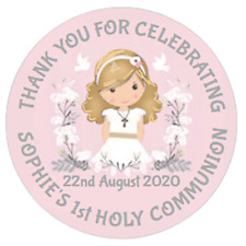48 Personalised Party Bag Stickers 1st Holy Communion 40mm Sweet Cone Labels