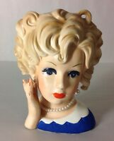 RELPO Lady Head Vase Blonde Pearls Hand Blue Dress Porcelain Figure Japan