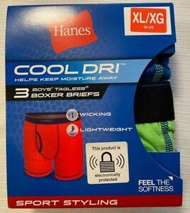 Hanes Cool Dri 3 Boys Tagless Boxer Briefs XL 18-20 NEW