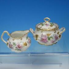 Charles Ahrenfeldt Limoges - Flower Decorated - Creamer and Covered Sugar Bowl