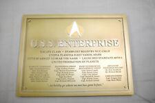 STAR TREK Raumschiff USS Enterprise Widmungsplakette  Eaglemoss K50