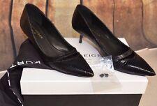 Kurt Geiger Sz 38/8 Black Cordelia Court Leather Lizard Print Low Stiletto Heel