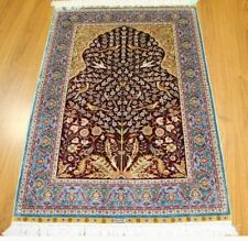 Handmade Rug 3' X 4' Silk Burgundy - Blue Tree Of Life Rug Artistic Weavers