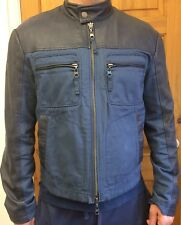 Genuine Authentic Armani Jacket Blue Fabric And Leather Size 54 XL