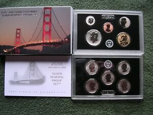 2018 SAN FRANCISCO MINT SILVER REVERSE PROOF SET WITH BOX & COA