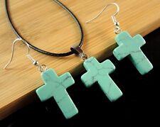 Turquoise Gemstone Cross Shape Statement Necklace & Earrings Set #1811