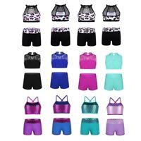Kid Girl Sequin Ballet Dance Tankini Outfit Gymnastics Workout Sports Dancewear