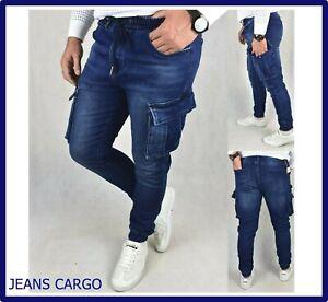 jeans pantaloni cargo uomo con tasche laterali tasconi elastico in vita slim fit