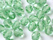 80 Böhmische Glasschliffperlen 6mm Grün Peridot Geschliffene Perlen  #1632