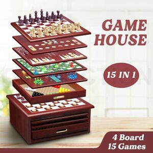 New 15-in-1 Chess Game Set Wooden Board Game Checker Backgammon Solitaire Toys
