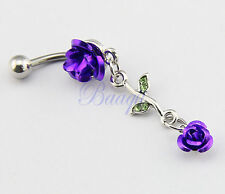 Stainless Steel Double Connecting Purple Rose Belly Bar Navel Ring JW724 EW