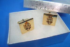 Vintage U.S. NAVY 3D PATRIOTIC United States NAVY USN Gold Tone Cuff Links