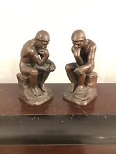 The Thinker 1920s Vtg 1930s Pair Of Bronze Bookends Jennings Brothers JB 2176