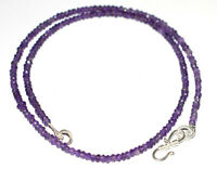 """925 Sterling Silver Purple Amethyst 12-40"""" Strand Necklace 3mm Round Beads TFG54"""