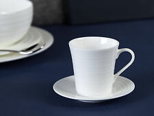 MIKASA Ciara White Bone China FLUTED Espresso CUP and SAUCER