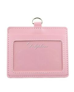 """Leather Horizontal ID badge holder with Window and Card Slot size 4.5"""" X 3"""""""