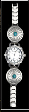 Woman's Montana Silversmiths Silver & Turquoise Concho Watch #MT917