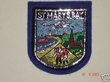 1 X ST MARY'S BAY  WOVEN BADGE SEW ON PATCH IN BLUE * NICE COASTAL VILLAGE *NEW*