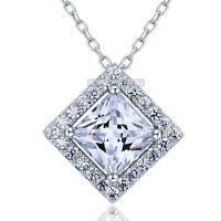 1 Karat Erstellt Diamant 925 Sterling Silber Halskette Anhänger FN8036